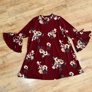 Dresses & Skirts - Floral Tunic Dress with Bell Sleeves